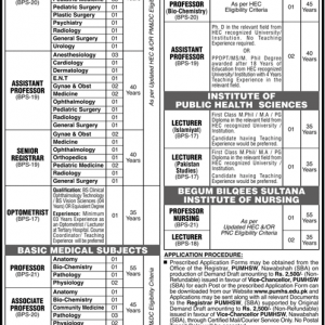 Vacancies in Peoples University of Medical & Health Sciences for Women