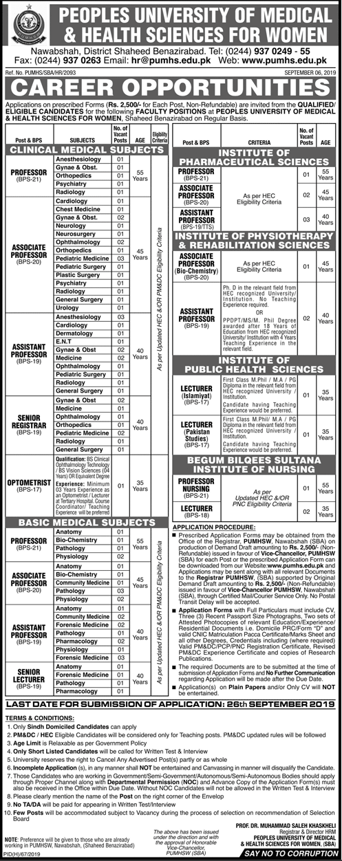 Vacancies in Peoples University Medical & Health Sciences for Women