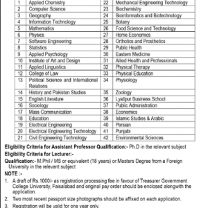 Jobs of Visiting Faculty in Government College University Faisalabad