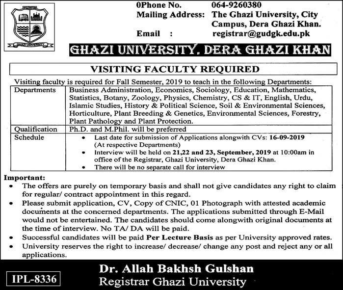 Teaching Jobs as Visiting Faculty in Ghazi University DG Khan