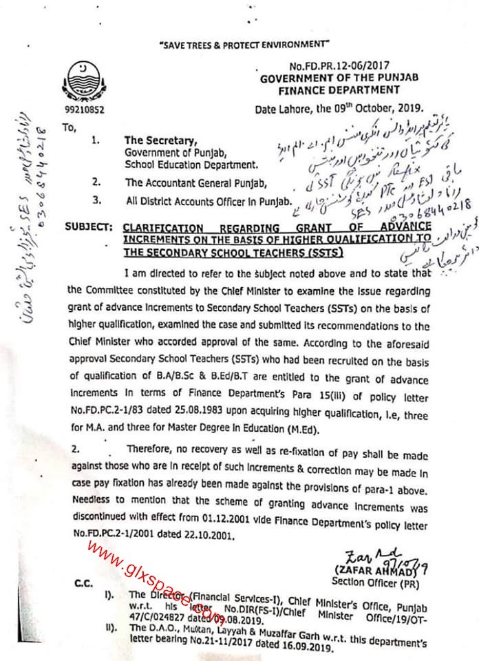 Clarification Advance Increments to SSTs Punjab
