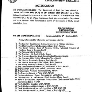 Notification of Holiday on 14th October 2019 throughout the Province of Sindh