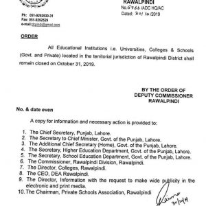 Holiday on 31st October 2019 for Schools, Colleges and Universities in District Rawalpindi