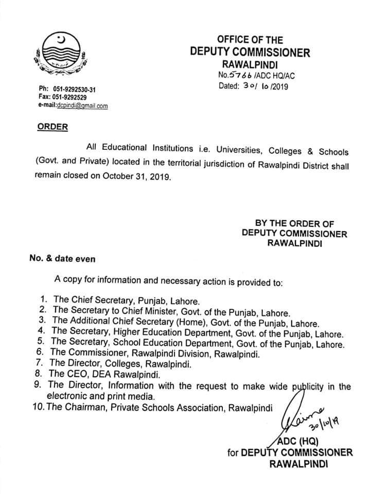 Holiday on 31st October 2019 for Schools