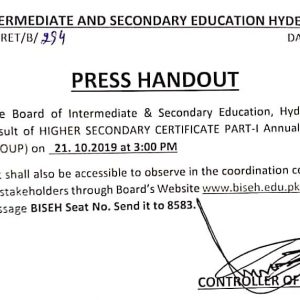 Latest Updates of Hyderabad Board 1st Year Annual Result 2019