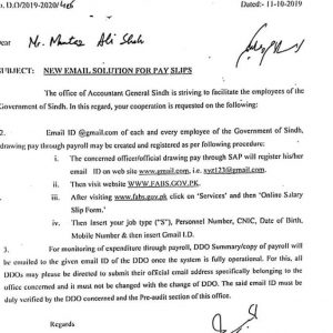 Notification of New Email Solution for Pay Slips Sindh Govt Employees