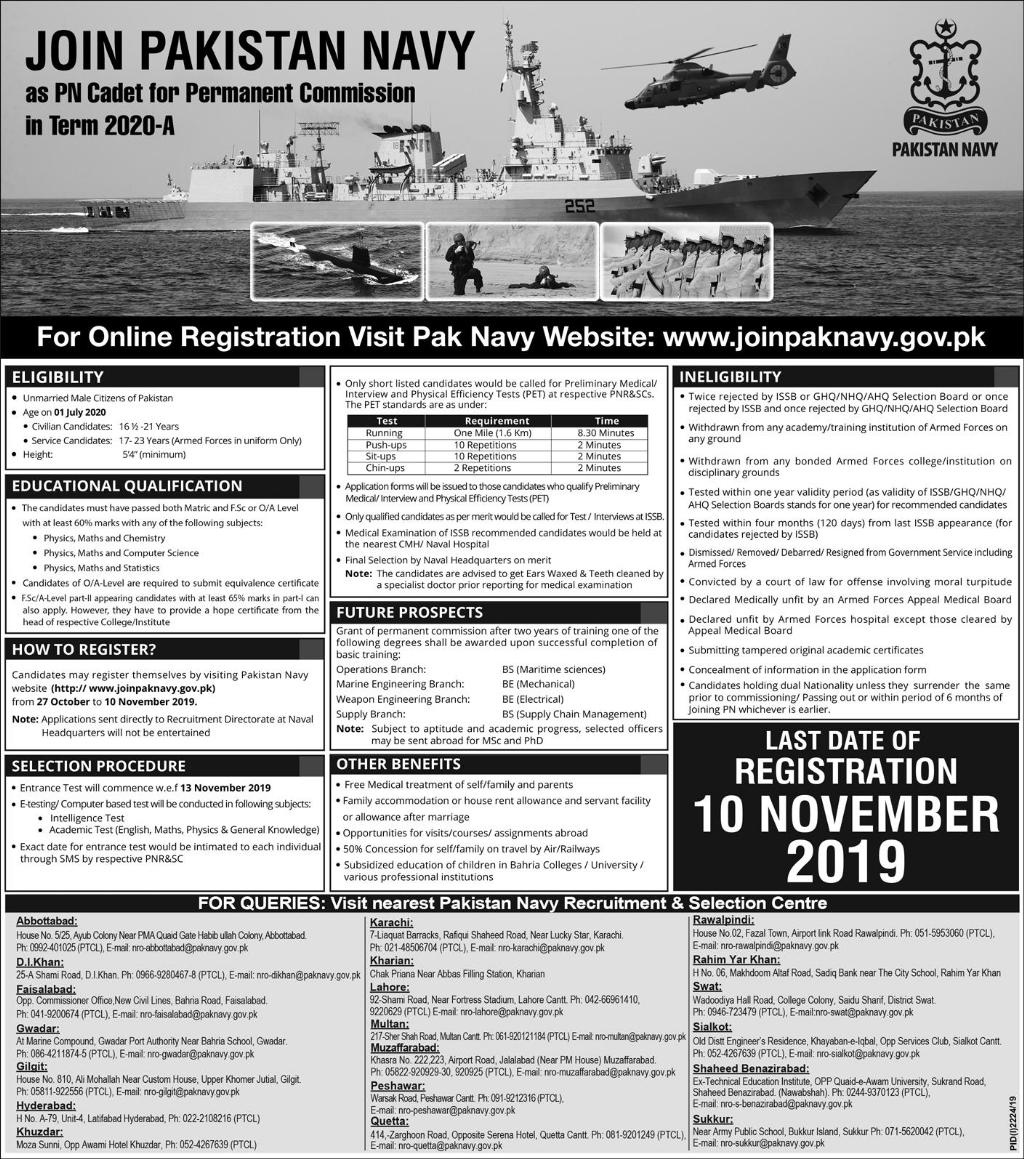 Job Opportunities in Pakistan Navy as PN Cadet