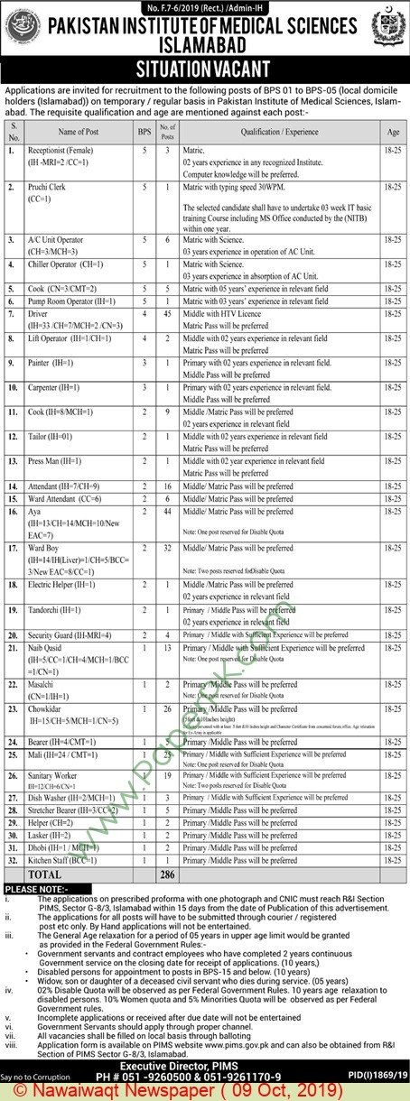 Jobs in Pakistan Institute of Medical Sciences Islamabad