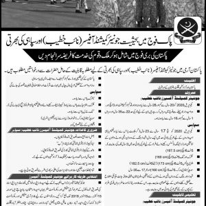 Join Pak Army as Junior Commissioned Officer (Naib Khateeb) and Sipahi