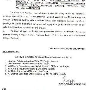 Lifting Ban on Transfers Postings of Teachers against Divorced, Widow, Disabled, Married, Wedlock and Mutual Categories