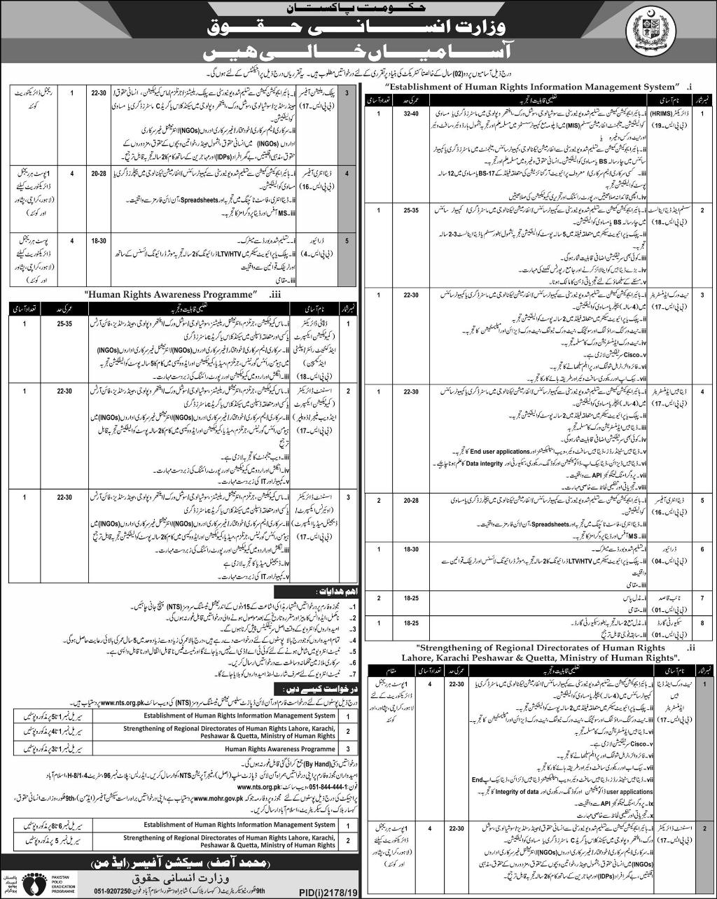 Ministry of Human Rights Vacancies 2019 through NTS