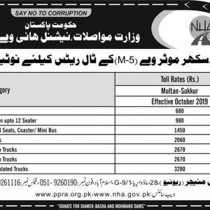 Multan Sukkur Motorway (M-5) Notification for Toll Rates