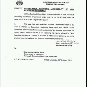 Clarification of Health Sector, Non-Practicing and Practice Compensatory Allowance