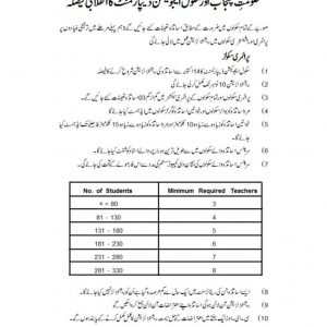 Rationalization Policy 2019 School Education Department Punjab