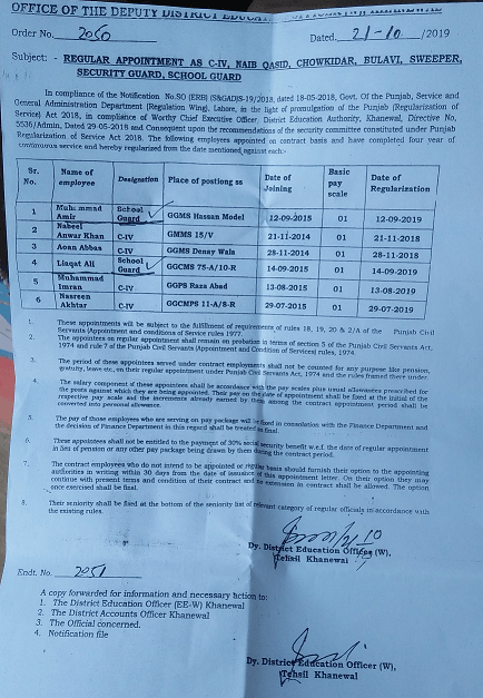 Regular Appointment As Class IV