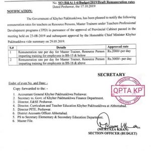Notification of Revised Remuneration Rates for Recourse Persons and Master Trainers