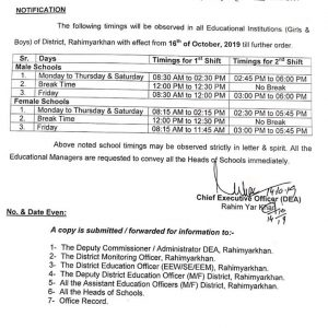 New School Timings Punjab Govt Schools wef 16th Oct 2019 in District Rahim Yar Khan
