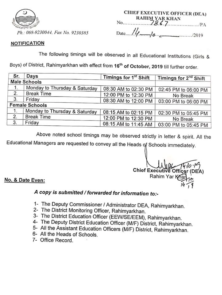 School Timings Punjab Govt Schools