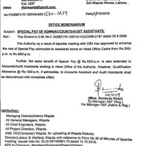 Notification of Special Pay of Admin / Accounts / Audit Assistants