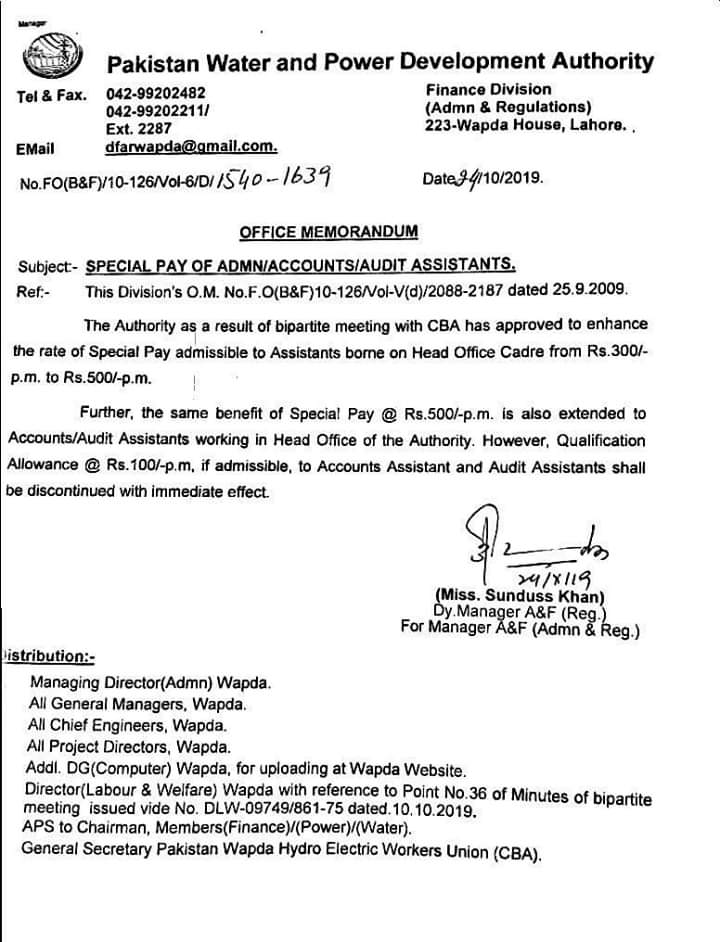 Special Pay of Admin