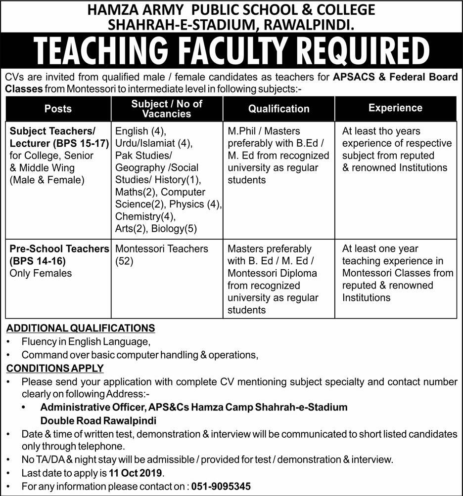 Teaching Jobs in Rawalpindi