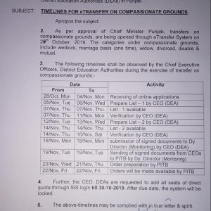 Notification of Timelines for E Transfer on Compassionate Grounds