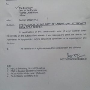 Updates of Upgradation Lab Attendants SED Punjab from BPS-01 to BPS-04