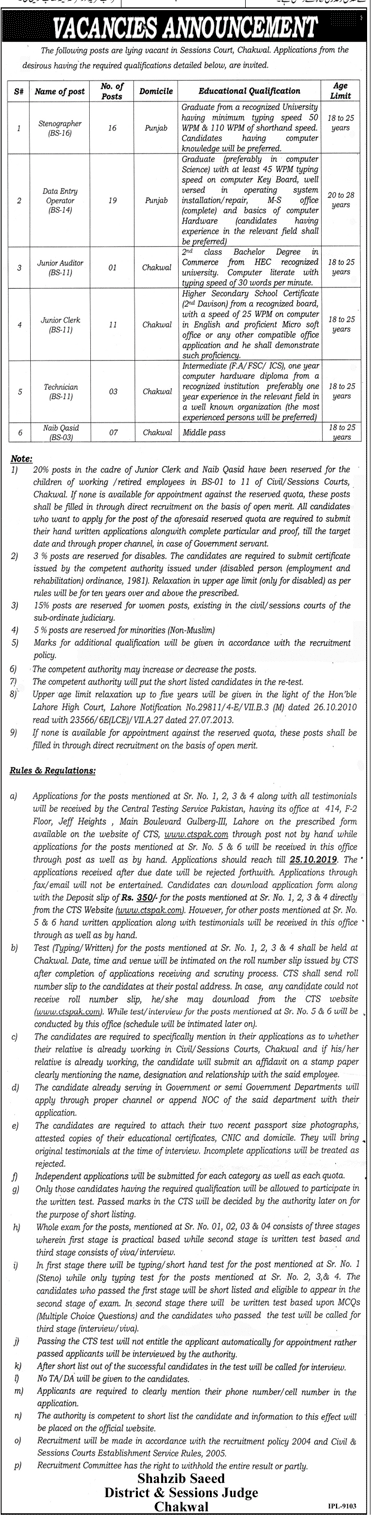 Vacancies Announcement Session Court Chakwal