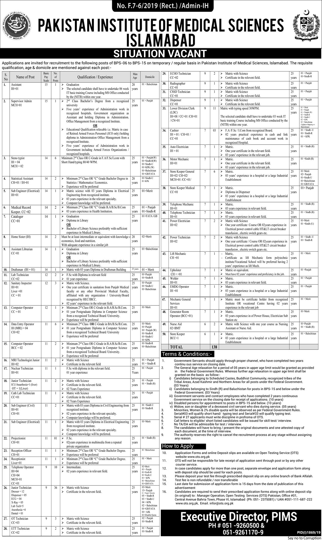 Vacancies in PIMS Islamabad 2019