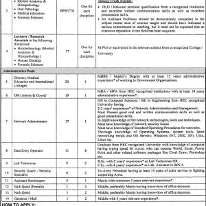 Vacancies in University of Health Sciences Lahore BPS-01 to BPS-20