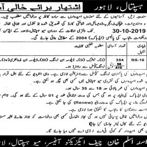 410 Vacancies of Charge Nurses in Lahore October 2019