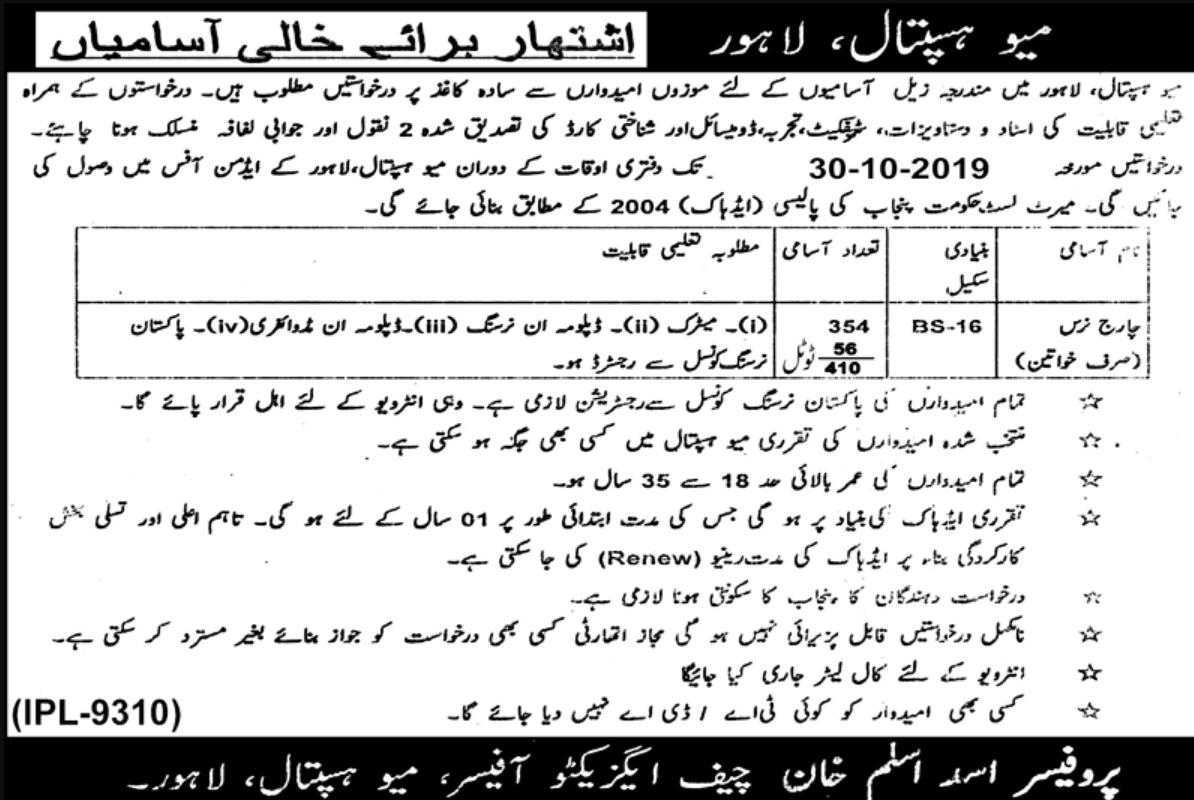 Vacancies of Charge Nurses in Lahore
