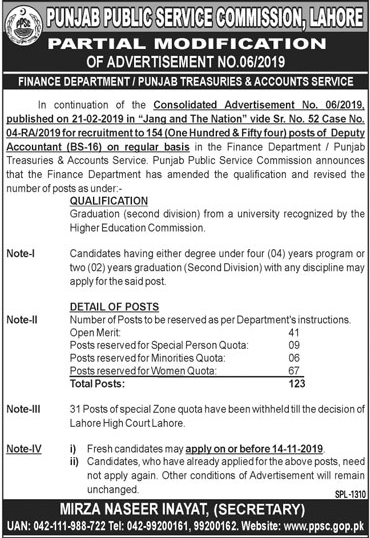 Vacancies of Deputy Accountants through PPSC