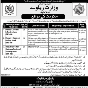 Vacancies of Deputy Directors in Ministry of Railways Government of Pakistan