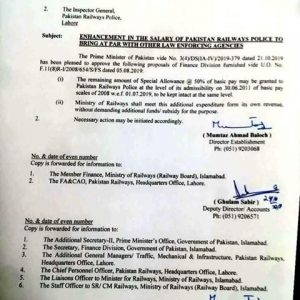 Notification of Enhancement Railway Police Salary (Special Allowance)