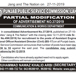Partial Amendment PPSC Jobs Advertisement No. 37