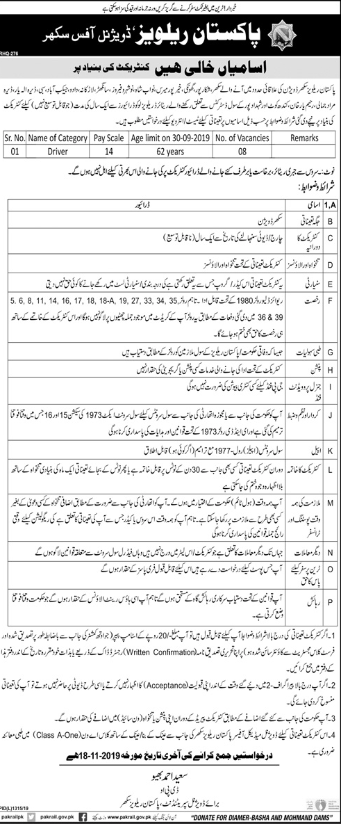 Drivers Vacancies in Pakistan Railways