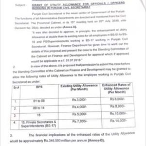 Summary for CM for Enhancement Utility Allowance for Employees Working in Punjab Civil Secretariat