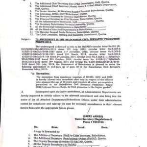Exemption from Compulsory Training Course for Promotion on Attaining 58 Years Age