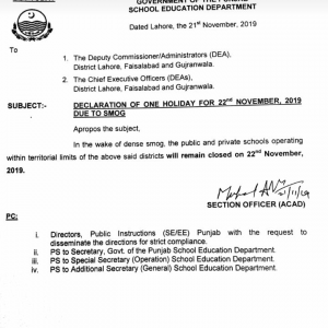 Notification by School Education Department Punjab of Holiday on 22nd November 2019 (Friday)