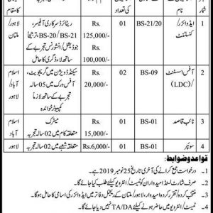 Lump Sum Contractual Based Jobs in Federal Insurance Mohtasib Secretariat