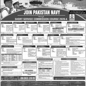 Join Pakistan Navy through Short Service Commission Course 2020-A