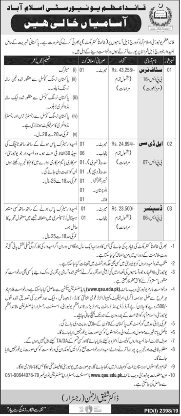 LDC Vacancies in Quad-e-Azam University Islamabad