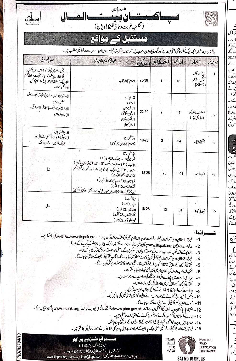 Latest Pakistan Bait ul Maal Jobs 2019