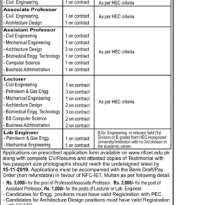 Lecturers Vacancies on Contract Basis in NFC-IET Multan