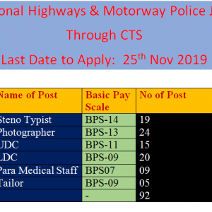 National Highways & Motorway Police Jobs Nov 2019 through CTS