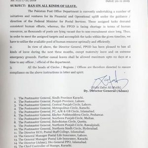 Notification of Ban on All Kind of Leave Pakistan Post