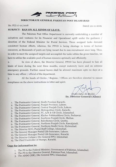 Notification of Ban on All Kind of Leave