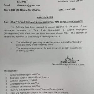 Notification of Grant of Premature Increment on Time Scale Upgrdataion to Wapda Employees