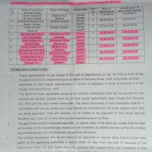 Office Order of Regularization Khanewal Division LBDC Employees